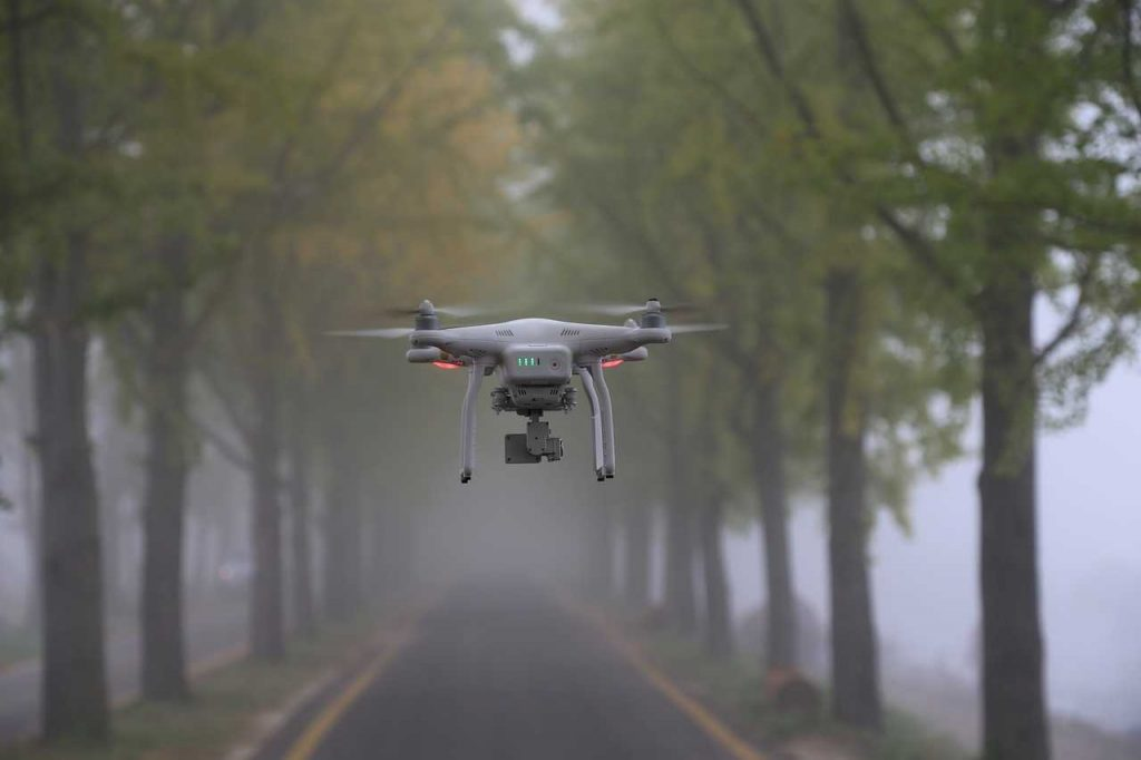 Drone in mist in bos