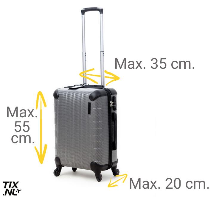 koffer maximale grootte vliegtuig handbagage