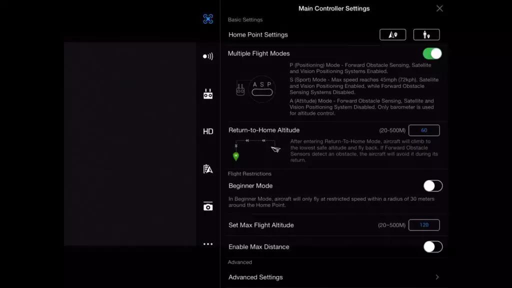 main controller settings in de DJI GO 4 APP