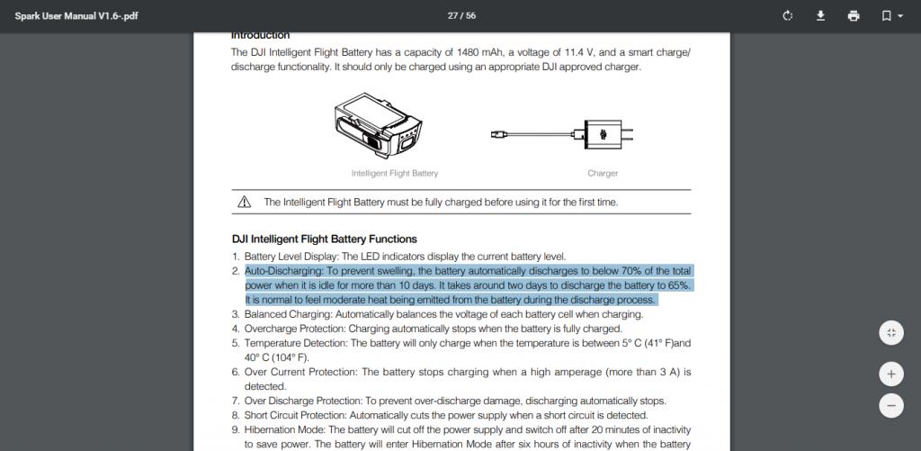 DJI spark handleiding auto-discharge