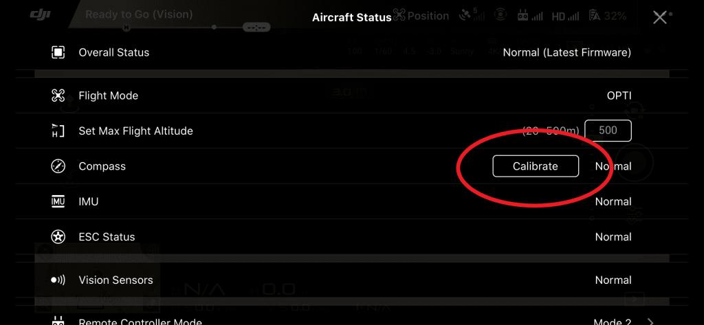 DJI GO 4 app kalibreren drone hoofdmenu