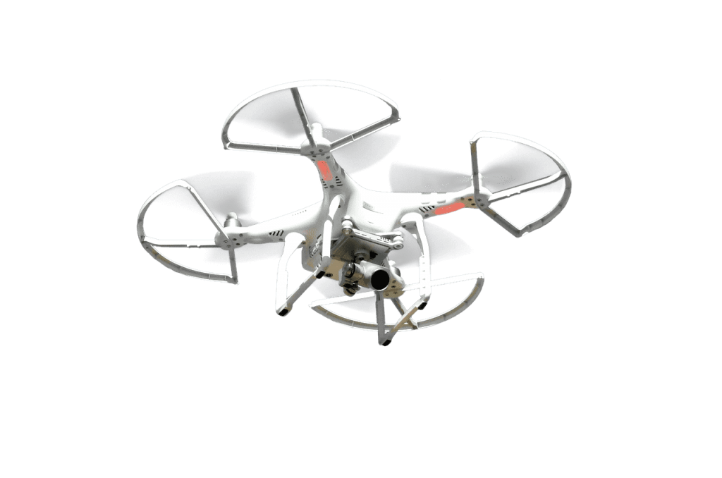 Phantom 3 SE in lucht propeller guards wit