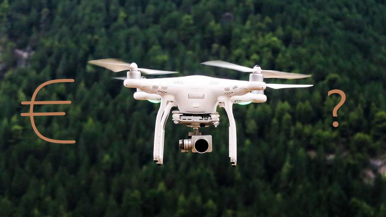 Phantom 4 pro bos lucht vliegen wit euro teken