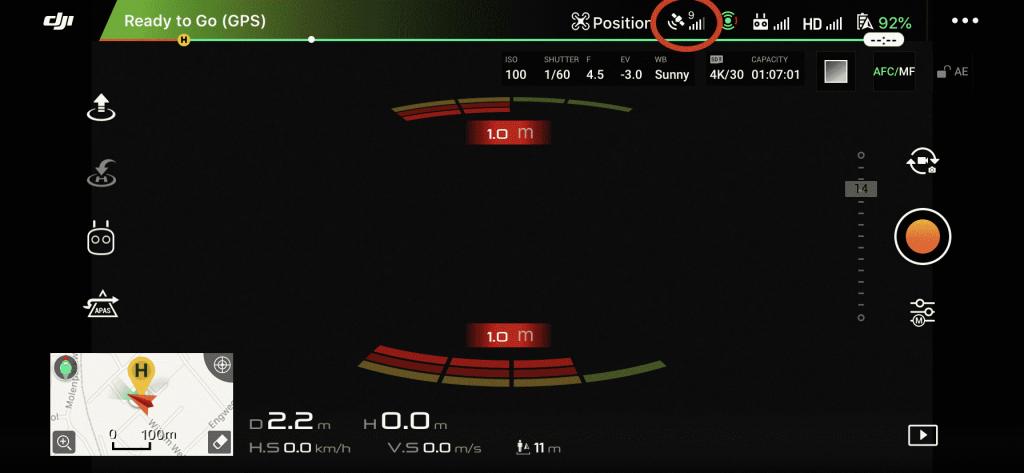 dji go 4 app sattelietsignaal teken meter