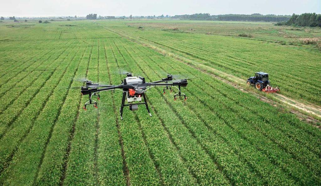drone landbouw sproeien route geprogrammeerd