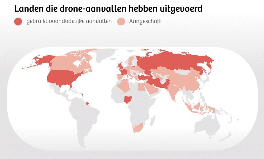 wereldkaart landen die met drones aanvallen