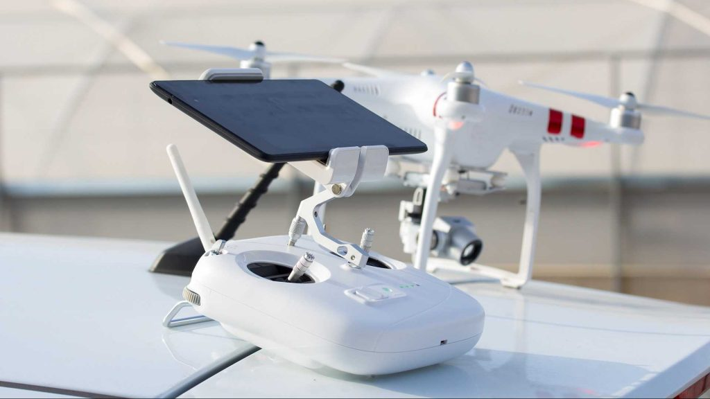 witte drone controller drone live videobeeld