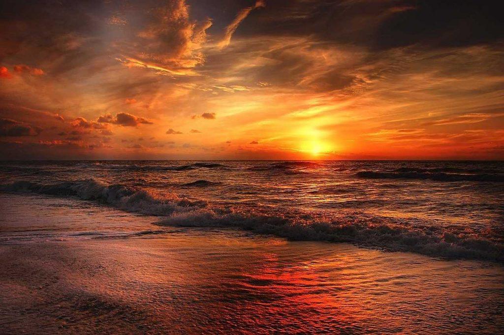 zonsondergang zon strand water zee