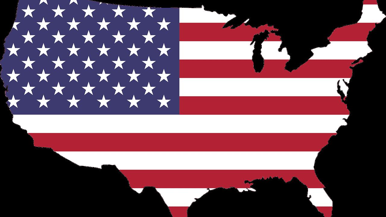 Amerika land kaart tekening vlag