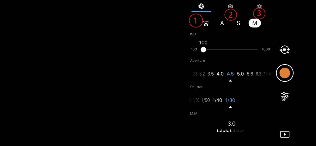 DJI GO 4 app camera-instellingen