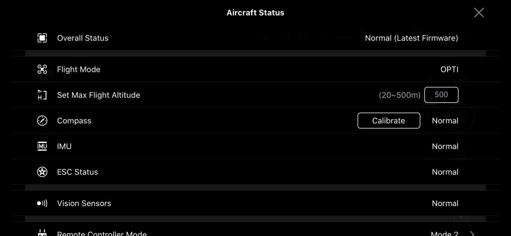 DJI GO 4 app menu instellingen status drone
