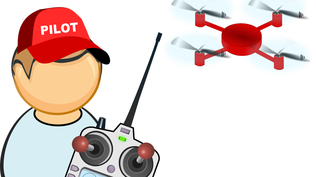 drone besturen kind animatie tekening vliegen piloot