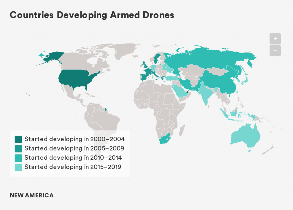 kaart sinds wanneer landen drone ontwikkelen