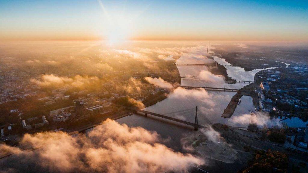 Stad drone foto ochtend