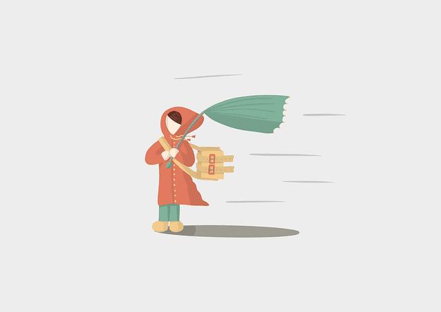 wind animatie tekenig meisje met paraplu
