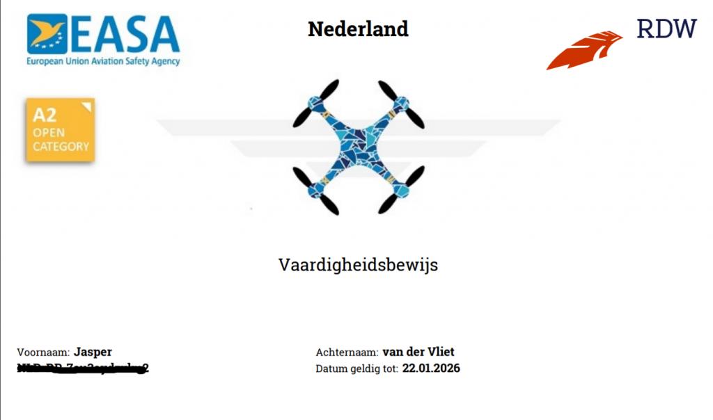 drone certificaat A2 open categorie